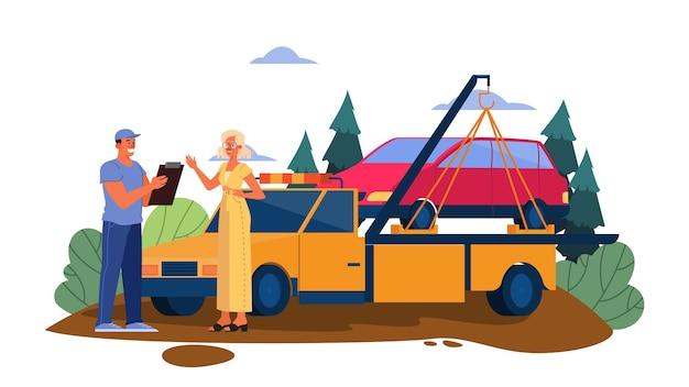 Illustratie van afgebroken auto op een weg. vrouw krijgt