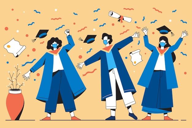 Illustratie van afgestudeerden die medische maskers dragen tijdens hun ceremonie