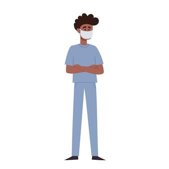 Illustratie van afrikaanse man artsen in beschermend gezichtsmasker op wit wordt geïsoleerd. gezondheidswerkers die bescherming dragen tegen stedelijke luchtverontreiniging, door de lucht overgedragen ziekten, coronavirus.