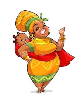 Illustratie van afrikaanse moeder met haar baby