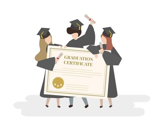 Illustratie van afstuderen certificaat