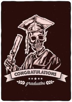 Illustratie van afstuderen van skelet met lint en belettering
