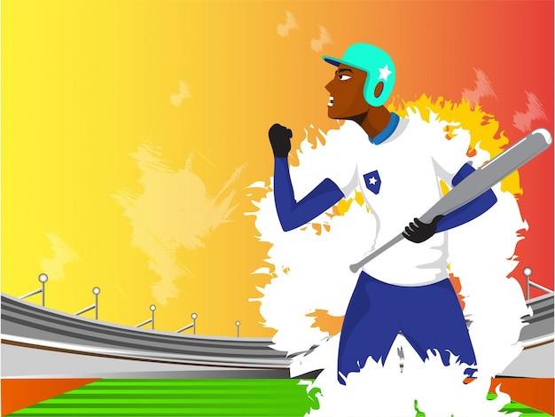 Illustratie van agressieve honkbalspeler.