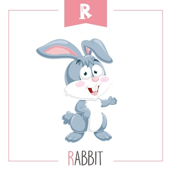 Illustratie van alfabet letter r en konijn