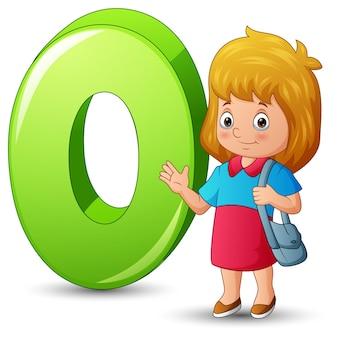 Illustratie van alfabet o met een status van het schoolmeisje