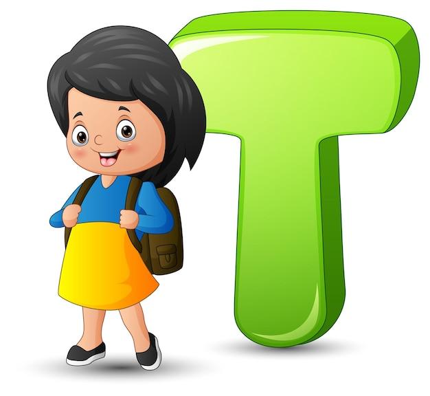 Illustratie van alfabet t met een staande schoolmeisje