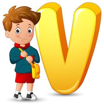 Illustratie van alfabet v met een staande schooljongen
