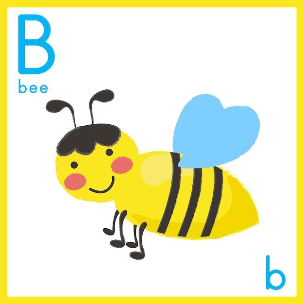 Illustratie van alfabetbrief met dierlijk beeld