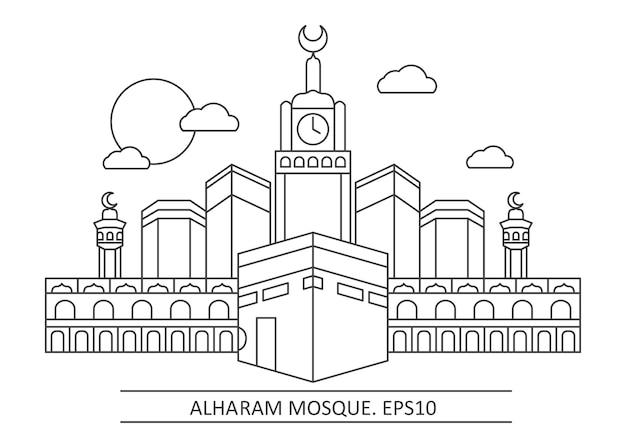 Illustratie van alharam heilige moskee van moslim