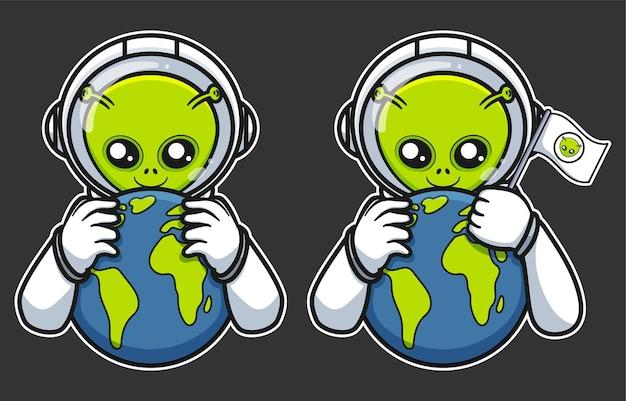 Illustratie van alien die aarde vasthoudt met vlag