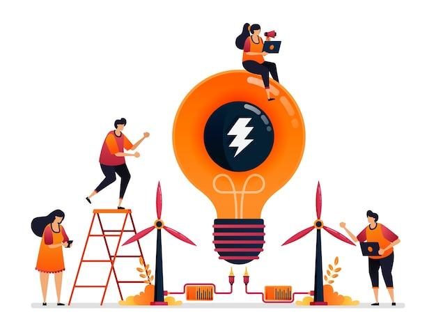 Illustratie van alternatieve energie en duurzame natuurlijke kracht voor creativiteit van elektriciteit.