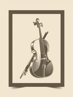 Illustratie van altviool met klassieke vintage stijl