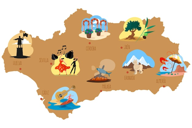 Illustratie van andalusië kaart met bezienswaardigheden