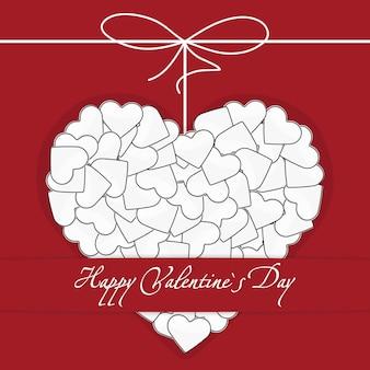 Illustratie van ansichtkaart wit hart gemaakt van vele kleine harten met strik-knoop