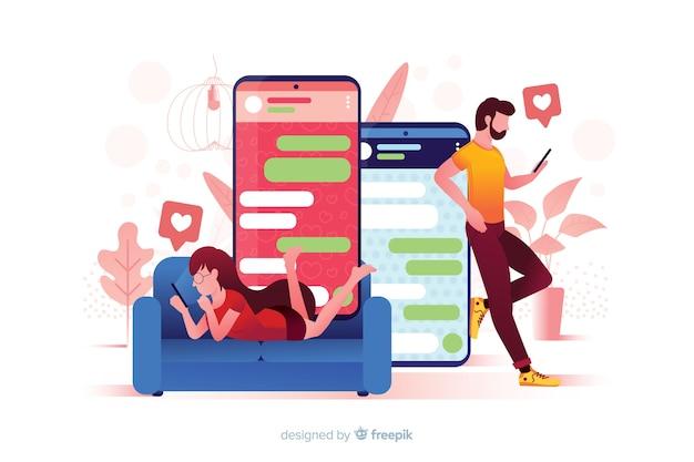 Illustratie van app gemaakt voor dating