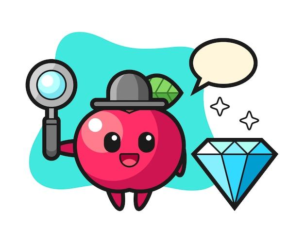 Illustratie van appelkarakter met een diamant