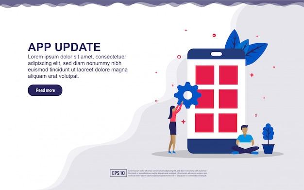 Illustratie van applicatie-update & app-ontwikkelaar met mensen. illustratie voor bestemmingspagina, sociale media-inhoud, reclame.