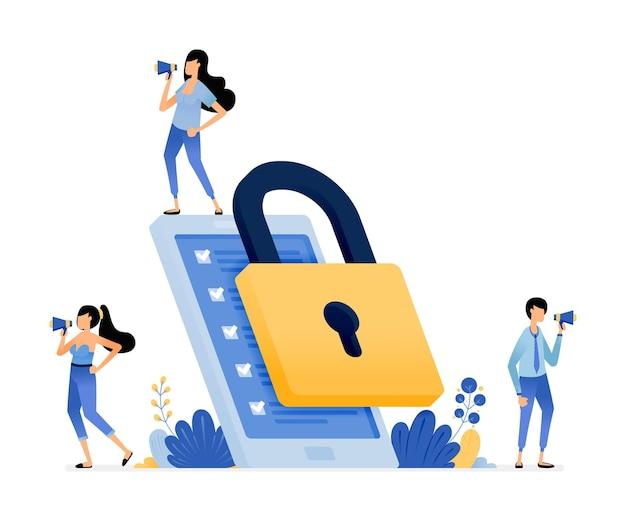 Illustratie van apps beveiliging en bescherming apparaat