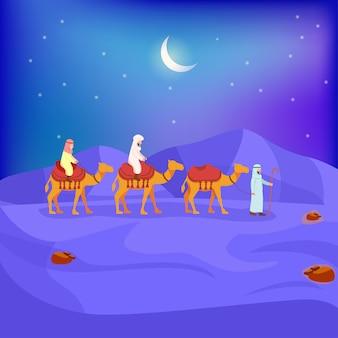 Illustratie van arabische caravan op de woestijn van de nacht