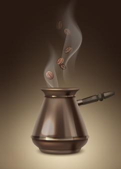 Illustratie van aromatische koffiebonen en turk met houten handvat met stoom