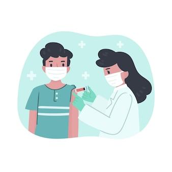 Illustratie van arts die vaccin injecteert aan een patiënt in de kliniek