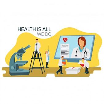Illustratie van arts met verschillende wetenschappers die een vaccin verzinnen voor het coronavirus dat zich over de hele wereld heeft verspreid. perfect voor bestemmingspagina, website en mobiele app
