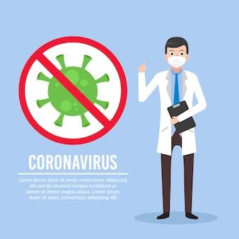 Illustratie van arts om mensen over coronavirus te waarschuwen