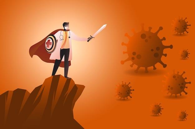 Illustratie van artsen-superheld die pandemische virussen bestrijdt