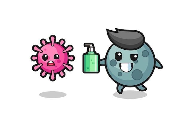 Illustratie van asteroïde karakter dat kwaadaardig virus achtervolgt met handdesinfecterend middel, schattig stijlontwerp voor t-shirt, sticker, logo-element