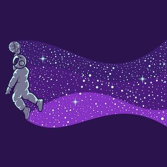 Illustratie van astronaut die basketbal speelt