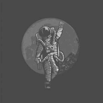Illustratie van astronaut, kosmonaut die skateboard en sport op de ruimte met astronautenkostuum betaalt