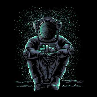 Illustratie van astronaut ontspannen zitten