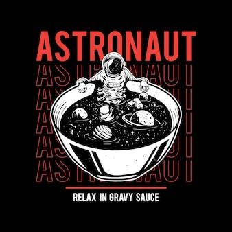 Illustratie van astronauten badend in soep voor t-shirtontwerp