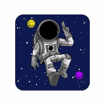 Illustratie van astronauten die in de ruimte ontspannen