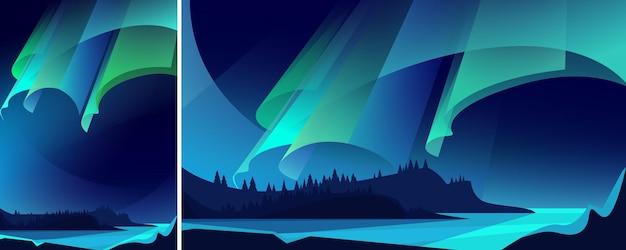 Illustratie van aurora borealis. landschap met natuurlijk lichtshow in verschillende formaten.