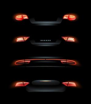 Illustratie van auto lichten rode achter koplampen set