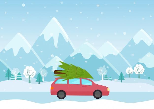 Illustratie van auto met een kerstmisboom op het dak op de bergenachtergrond.