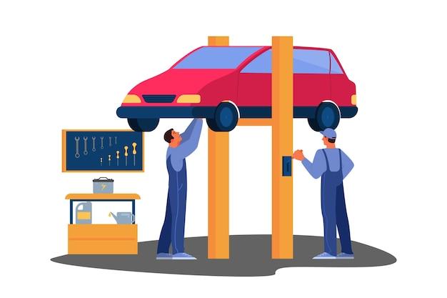 Illustratie van auto werd gerepareerd in autoservice. monteur in uniform controleert een voertuig en repareert het. autoservicemedewerker controleer de accu