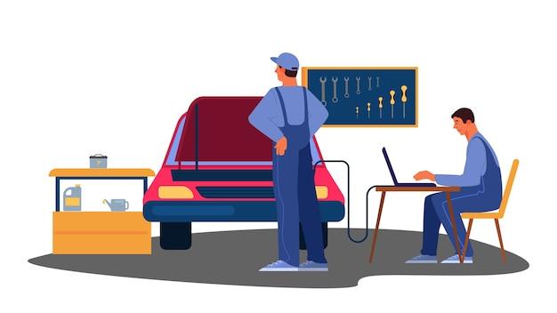 Illustratie van auto werd gerepareerd in autoservice.