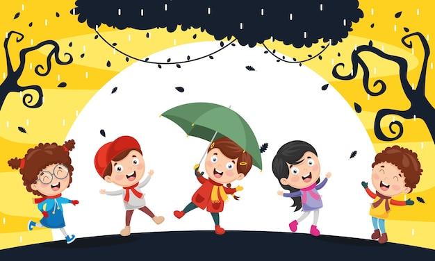 Illustratie van autumn children