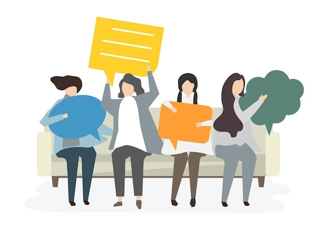 Illustratie van avatar communicatie concept