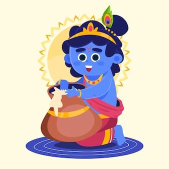 Illustratie van baby krishna die boter eet