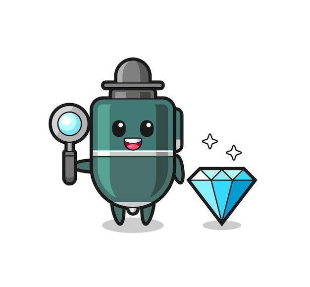 Illustratie van balpenkarakter met een diamant, schattig ontwerp