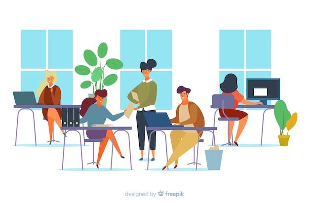 Illustratie van beambten die bij bureaus zitten