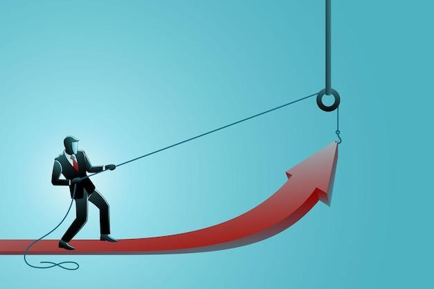 Illustratie van bedrijfsconcept, een zakenman die pijlsymbool opheft met behulp van een katrol
