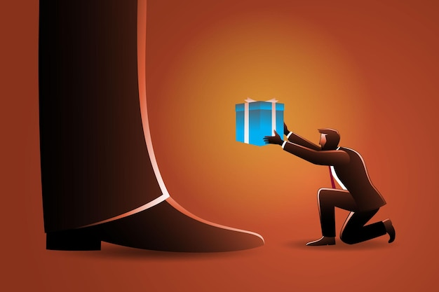 Illustratie van bedrijfsconcept, kleine zakenman geeft een doos aan gigantische man