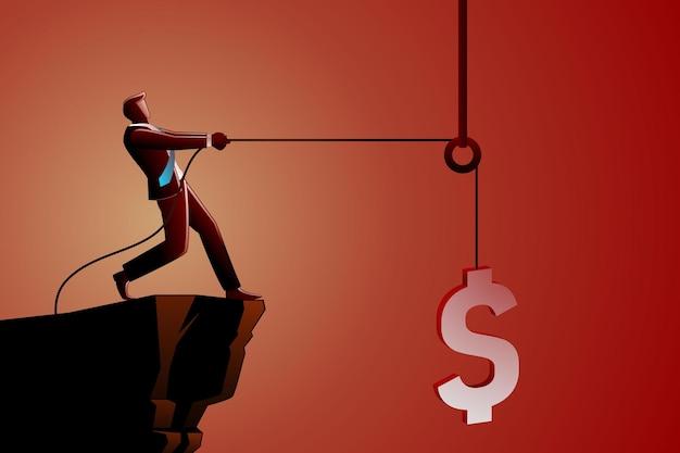 Illustratie van bedrijfsconcept, zakenman die dollar valutasymbool opheft met behulp van een katrol a