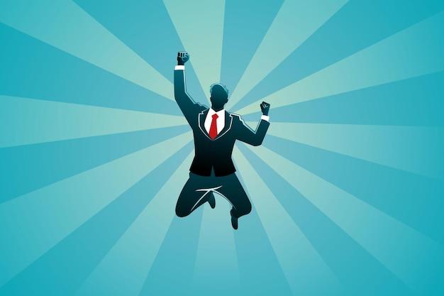 Illustratie van bedrijfsconcept, zakenman die gelukkig springt