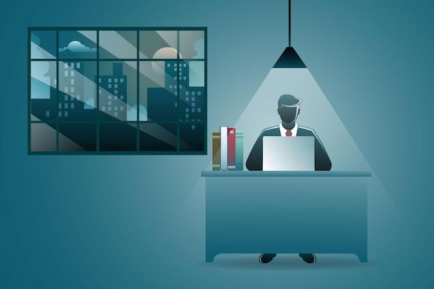 Illustratie van bedrijfsconcept, zakenman die thuis werkt met laptop in desk