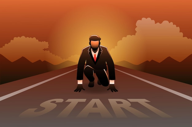 Illustratie van bedrijfsconcept, zakenman klaar om te sprinten op de startlijn